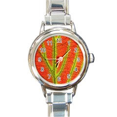 Unique Leaf Round Italian Charm Watch