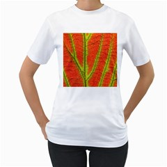 Unique Leaf Women s T-Shirt (White) (Two Sided)