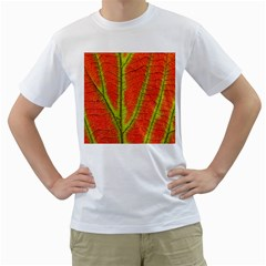 Unique Leaf Men s T-Shirt (White) (Two Sided)