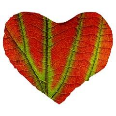 Unique Leaf Large 19  Premium Heart Shape Cushions