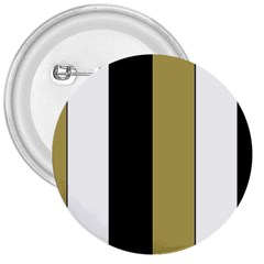 Black Brown Gold White Stripes Elegant Festive Stripe Pattern 3  Buttons