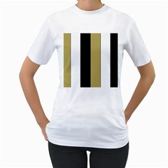 Black Brown Gold White Stripes Elegant Festive Stripe Pattern Women s T-Shirt (White) (Two Sided)