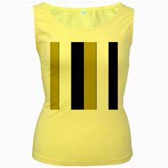 Black Brown Gold White Stripes Elegant Festive Stripe Pattern Women s Yellow Tank Top