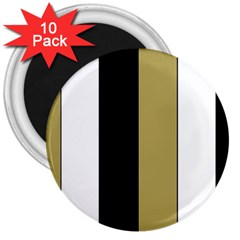 Black Brown Gold White Stripes Elegant Festive Stripe Pattern 3  Magnets (10 pack)