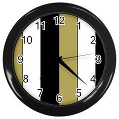 Black Brown Gold White Stripes Elegant Festive Stripe Pattern Wall Clocks (Black)