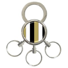 Black Brown Gold White Stripes Elegant Festive Stripe Pattern 3-Ring Key Chains