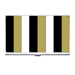 Black Brown Gold White Stripes Elegant Festive Stripe Pattern Business Card Holders