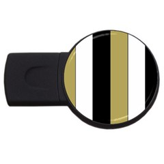 Black Brown Gold White Stripes Elegant Festive Stripe Pattern USB Flash Drive Round (1 GB)