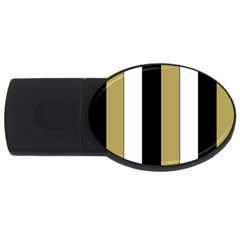 Black Brown Gold White Stripes Elegant Festive Stripe Pattern USB Flash Drive Oval (1 GB)