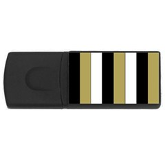 Black Brown Gold White Stripes Elegant Festive Stripe Pattern USB Flash Drive Rectangular (2 GB)