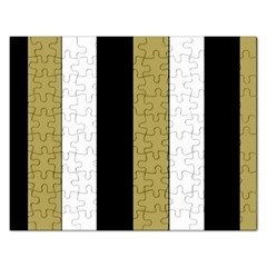 Black Brown Gold White Stripes Elegant Festive Stripe Pattern Rectangular Jigsaw Puzzl