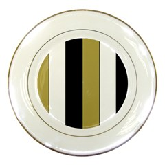 Black Brown Gold White Stripes Elegant Festive Stripe Pattern Porcelain Plates