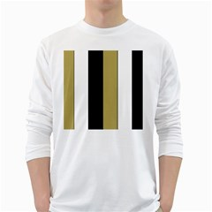 Black Brown Gold White Stripes Elegant Festive Stripe Pattern White Long Sleeve T-Shirts