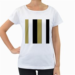 Black Brown Gold White Stripes Elegant Festive Stripe Pattern Women s Loose-Fit T-Shirt (White)