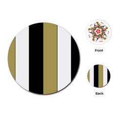 Black Brown Gold White Stripes Elegant Festive Stripe Pattern Playing Cards (Round)