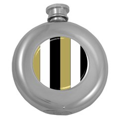 Black Brown Gold White Stripes Elegant Festive Stripe Pattern Round Hip Flask (5 oz)