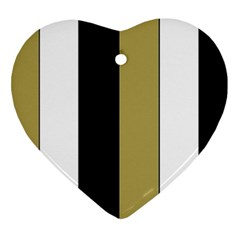 Black Brown Gold White Stripes Elegant Festive Stripe Pattern Heart Ornament (2 Sides)