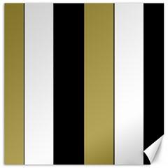 Black Brown Gold White Stripes Elegant Festive Stripe Pattern Canvas 12  x 12