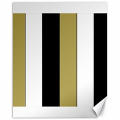 Black Brown Gold White Stripes Elegant Festive Stripe Pattern Canvas 16  x 20