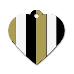 Black Brown Gold White Stripes Elegant Festive Stripe Pattern Dog Tag Heart (Two Sides)