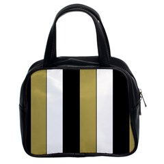Black Brown Gold White Stripes Elegant Festive Stripe Pattern Classic Handbags (2 Sides)