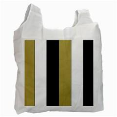 Black Brown Gold White Stripes Elegant Festive Stripe Pattern Recycle Bag (Two Side)