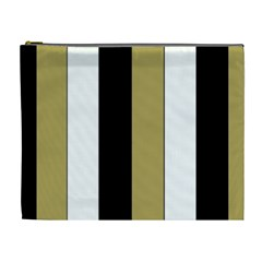 Black Brown Gold White Stripes Elegant Festive Stripe Pattern Cosmetic Bag (XL)
