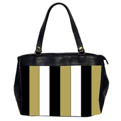 Black Brown Gold White Stripes Elegant Festive Stripe Pattern Office Handbags (2 Sides)