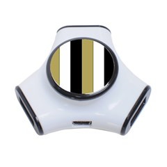 Black Brown Gold White Stripes Elegant Festive Stripe Pattern 3-Port USB Hub