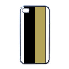 Black Brown Gold White Stripes Elegant Festive Stripe Pattern Apple iPhone 4 Case (Black)