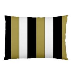 Black Brown Gold White Stripes Elegant Festive Stripe Pattern Pillow Case (Two Sides)