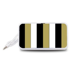 Black Brown Gold White Stripes Elegant Festive Stripe Pattern Portable Speaker (White)