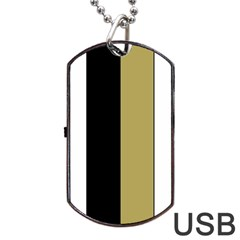 Black Brown Gold White Stripes Elegant Festive Stripe Pattern Dog Tag USB Flash (Two Sides)