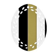 Black Brown Gold White Stripes Elegant Festive Stripe Pattern Oval Filigree Ornament (2-Side)