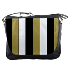 Black Brown Gold White Stripes Elegant Festive Stripe Pattern Messenger Bags