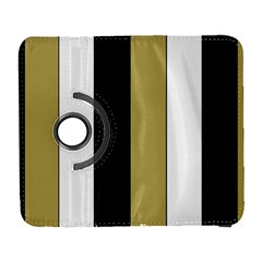 Black Brown Gold White Stripes Elegant Festive Stripe Pattern Galaxy S3 (Flip/Folio)