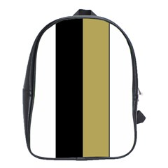 Black Brown Gold White Stripes Elegant Festive Stripe Pattern School Bags (XL)