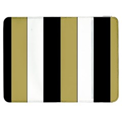 Black Brown Gold White Stripes Elegant Festive Stripe Pattern Samsung Galaxy Tab 7  P1000 Flip Case