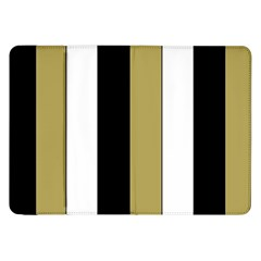 Black Brown Gold White Stripes Elegant Festive Stripe Pattern Samsung Galaxy Tab 8.9  P7300 Flip Case