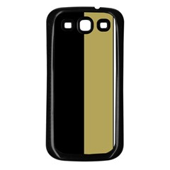 Black Brown Gold White Stripes Elegant Festive Stripe Pattern Samsung Galaxy S3 Back Case (Black)