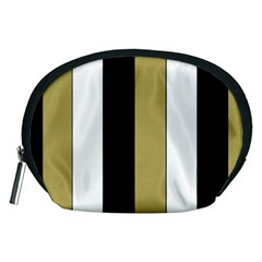Black Brown Gold White Stripes Elegant Festive Stripe Pattern Accessory Pouches (Medium)