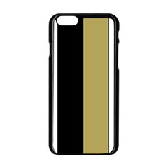 Black Brown Gold White Stripes Elegant Festive Stripe Pattern Apple iPhone 6/6S Black Enamel Case