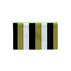 Black Brown Gold White Stripes Elegant Festive Stripe Pattern Cosmetic Bag (XS)