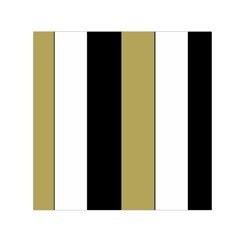 Black Brown Gold White Stripes Elegant Festive Stripe Pattern Small Satin Scarf (Square)