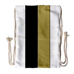 Black Brown Gold White Stripes Elegant Festive Stripe Pattern Drawstring Bag (Large)