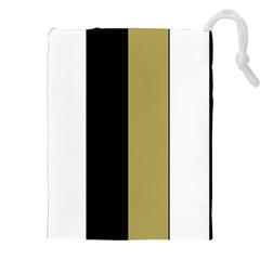 Black Brown Gold White Stripes Elegant Festive Stripe Pattern Drawstring Pouches (XXL)