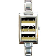 Black Brown Gold White Horizontal Stripes Elegant 8000 Sv Festive Stripe Rectangle Italian Charm Watch