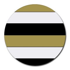 Black Brown Gold White Horizontal Stripes Elegant 8000 Sv Festive Stripe Round Mousepads