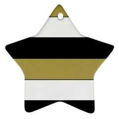 Black Brown Gold White Horizontal Stripes Elegant 8000 Sv Festive Stripe Ornament (Star)
