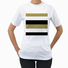 Black Brown Gold White Horizontal Stripes Elegant 8000 Sv Festive Stripe Women s T-Shirt (White) (Two Sided)
